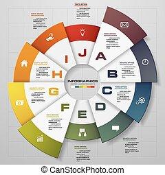Modern 10 steps modern pie chart infographics...