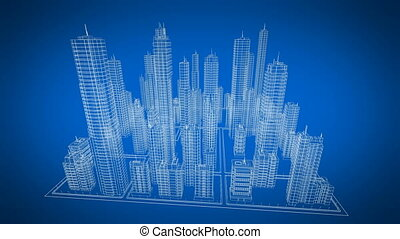 Modern 3d Blueprint of Contemporary Buildings Turning in 3d Space. Blue color. Construction and Technology Concept. Looped 3d animation.