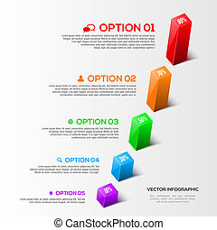 Modern 3D charts infographic and graphs options design template.