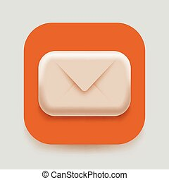 Modern 3d email icon. Post, spam or letter concept. Vector illustration.