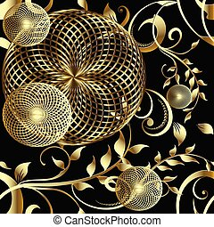 Modern 3d geometric seamless pattern. Vector floral background w