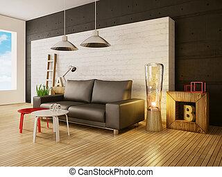 3d illustration interior - modern 3d illustration interior ...