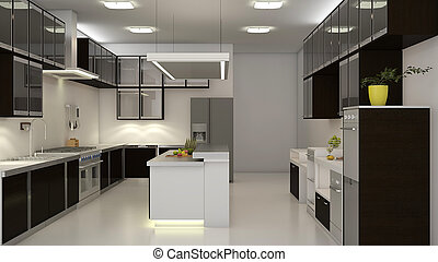 Modern 3D Kitchen - Modern clean white kitchen with center...