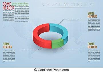 Modern 3D pie chart infographics