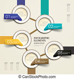 3d vector abstract flow chart paper infographic elements