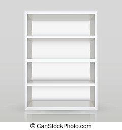 3d vector white blank shelf - modern 3d vector white blank...