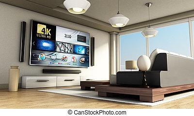 modern, 4k, klug, fernsehzimmer, mit, groß, windows, und,...