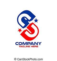 Modern abbreviation USA logo.Vector illustration.