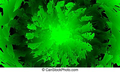 modern abstract background green flames. green explosion. kaleidoscope green explosion