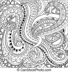 modern abstract background - Hand drawn doodle monochrome ...