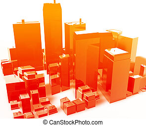 Modern abstract city - Abstract generic city with modern ...