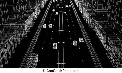 Modern Abstract City Street with Traffic Digital Blueprint...