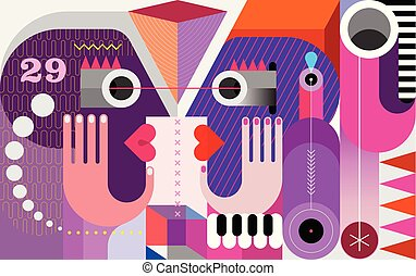 Twins look at each other vector illustration