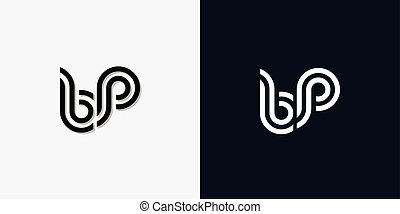 Modern Abstract Initial letter BP logo. This icon incorporate with two abstract typeface in the creative way.It will be suitable for which company or brand name start those initial.