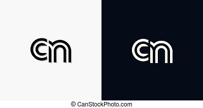 Modern Abstract Initial letter CN logo. This icon ...
