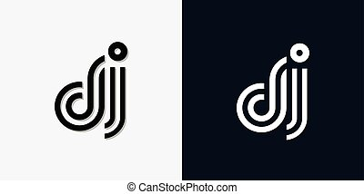 Modern Abstract Initial letter DJ logo. This icon ...