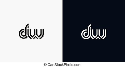 Modern Abstract Initial letter DW logo. This icon ...