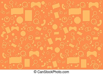 Modern Abstract Mobile Application Top Angle View Contour over Orange Background