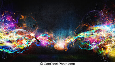 Modern abstract motion banner on dark background - Modern...
