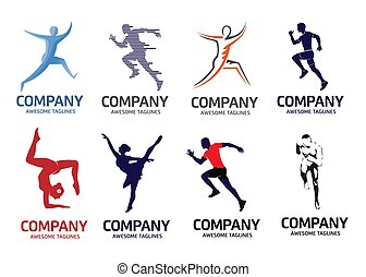 abstract running fitness and yoga logo set