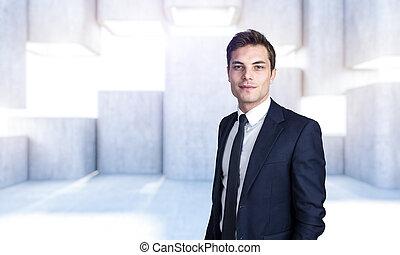 modern abstract structureportrait of businessman