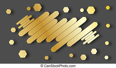 Modern abstract style with composition made of various parallel golden hexagons. Vector illustration.