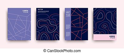 Modern abstract topography geometric covers set. Minimal...