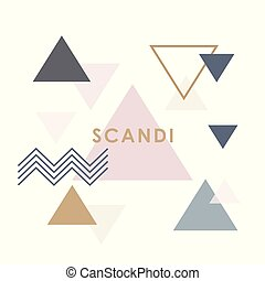 Modern abstract triangle banner in scandinavian style.