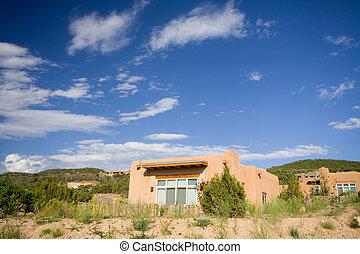 Modern Adobe Home Suburban Santa Fe New Mexico USA