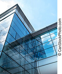 modern affär, byggnad, med, sky, reflexion