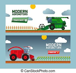 Modern agricultural machine harvest crop, combine, truck, flat vector illustration. Online business, order now, buy farmer machine.