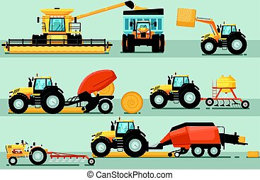 Modern agricultural vehicle isolated set. Agriculture...
