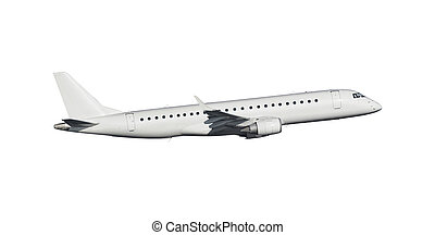 Modern aircraft isolated - Modern commercial airplane...