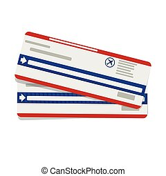 Modern airline travel boarding pass two tickets. Vector template