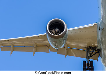 modern airplane is flying in a blue sky, close-up