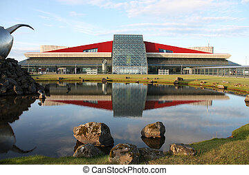 Reykjavik Keflavik International Airport - modern building reflection in water