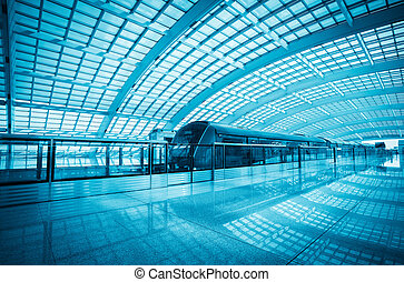 modern airport express train in beijing