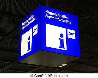 Modern airport flight information sign, selective focus