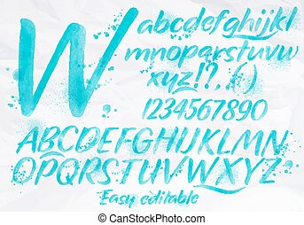 Modern alphabet blue color.