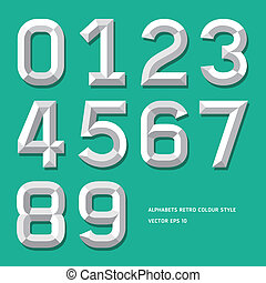 Modern alphabet number colour style