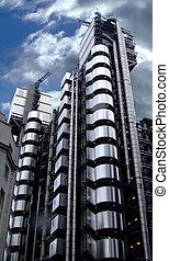 modern, alumínium, épület