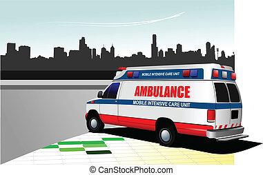 Modern ambulance van on city backgr
