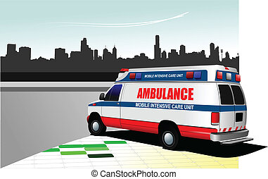Modern ambulance van on city backgr