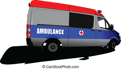 Modern ambulance van over white. C