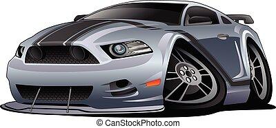 modern, amerikai, izom, autó, karikatúra, vektor, ábra