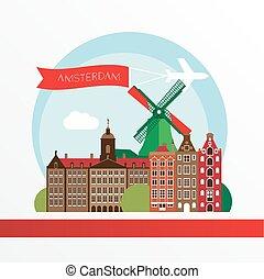 Modern Amsterdam city Skyline Design. Netherlands