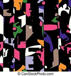 Modern and artistic seamless pattern design with colorful abstract shapes