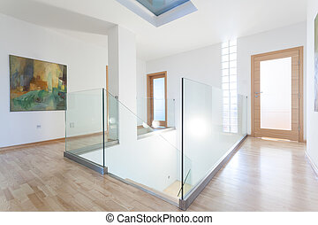 Modern and bright hallway - Interior of modern and bright ...