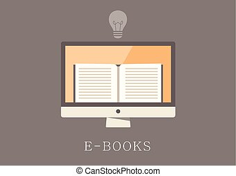 Modern and classic design ebooks concept flat icon