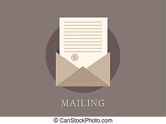Modern and classic design email concept flat icon
